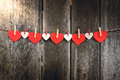 Red Paper Heart Hanging On The Clothesline Stock Images - 64528534