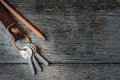 Key Chain And Pencil On Wooden Background. Stock Image - 64531951