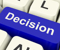 Decision Computer Key Representing Uncertainty And Making Decisi Stock Photo - 64542870
