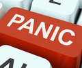 Panic Key Shows Panicky Terror Or Distress Stock Images - 64542984
