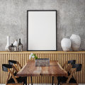 Mock Up Poster Frame In Hipster Interior Background, Stock Photography - 64547602