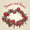 Thorns And Roses Engraving Emblem Royalty Free Stock Images - 64556289