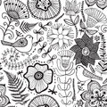 Vector Flower Pattern. Black And White Seamless Botanic Texture, Detailed Flowers Illustrations. All Elements Are Not Cropped And Royalty Free Stock Photography - 64559757