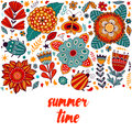 Summer Time Floral Card Design, Summer Time Flowers And Leaf Doodle Elements. Illustration Made Of Flowers And Herbs. Vector Decor Stock Photo - 64559810
