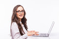 Business Woman  With Glasses Using Laptop Computer Pc. Stock Photos - 64561453