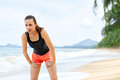 Sports, Fitness. Fit Woman Taking Break After Running. Workout, Royalty Free Stock Images - 64578799