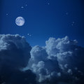 Fantastic  Aerial View Of  Night Sky And The Moon Stock Photography - 64582062