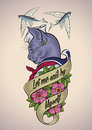 Vintage Tattoo Of A Cat-sailor Royalty Free Stock Images - 64600429
