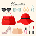 Lady Fashion Accessories Set In Flat Style. Stock Photos - 64606963