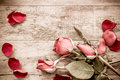 Roses And A Hearts On Wooden Board, Valentines Day Background Stock Photography - 64608132
