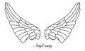 Simple Shape Of Angel Wings, Black Line On White Royalty Free Stock Image - 64613006