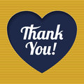 Card  With  Heart Icon And Retro Thank You Text. Royalty Free Stock Photography - 64614587