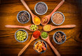 Spice Spoons And Bowls Royalty Free Stock Image - 64633846