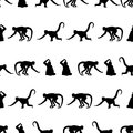 Monkey Black Shadows Silhouette In Lines Pattern Stock Photos - 64638053
