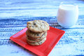 Milk And Cookies Front View Royalty Free Stock Photo - 64647975