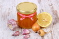 Honey In Glass Jar, Onion, Lemon And Garlic, Healthy Nutrition And Strengthening Immunity Stock Photo - 64650500