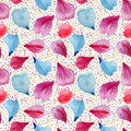 Seamless Pattern: Petals Of Pink, Red And Blue Flowers. Stock Photography - 64652462