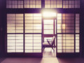 Japanese Style Room Interior With Retro Chair Vintage Tone Stock Photo - 64652830