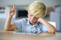 Little Boy With Tablet Raising Hand At School Royalty Free Stock Photo - 64655625