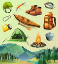 Camp Vector Icons Royalty Free Stock Images - 64659799
