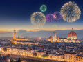 Fireworks Under Arno River And Ponte Vecchio Royalty Free Stock Image - 64659876
