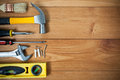 Closeup Of Assorted Work Tools On Wood Stock Image - 64661741