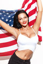 Sexy Brunette Woman Holding USA Flag Stock Photos - 64674023