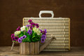 Flowers In A Woodden Pot Royalty Free Stock Photos - 64682018
