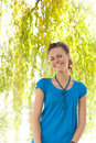 Laughing Woman Near Willow Royalty Free Stock Image - 6479896