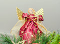 Angel Christmas Tree Ornament, Topper, Close Up. Dressed Angel With Wings Stock Image - 64700481