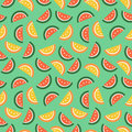 Seamless Vector Pattern, Fruits Bright Chaotic Background With Watermelons Royalty Free Stock Photos - 64702358