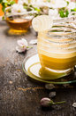 Honey Jar On Rustic Table , Close Up Royalty Free Stock Images - 64717419