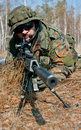 Masked Sniper Is Aiming At The Target During The Mission Royalty Free Stock Image - 64719626