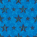 Star Line Drawing Style Seamless Pattern Royalty Free Stock Photography - 64721007