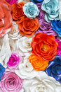 Beautiful Rose Wall Made Of Colorful Paper, Valentines Day Backg Stock Photography - 64724812