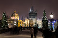 Charles Bridge Towards Old Town In The Winter Stock Image - 64733301