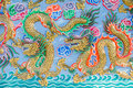 Painting Of Dragon On The Wall In Chinese Temple Stock Image - 64752661