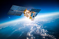 Space Satellite Over The Planet Earth Royalty Free Stock Photos - 64756258