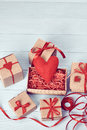 Love, Valentines Day.  Hearts, Gift Boxes On Wood Royalty Free Stock Photos - 64758568