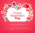 Valentine Banner With Heart Shape Frame Royalty Free Stock Photos - 64766488