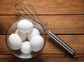 Eggs In A Glass Bowl And Whisk For Whipping Stock Image - 64773971