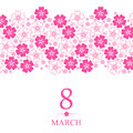 8 March Card Decorated Pink Flowers Horizontal Ornament Royalty Free Stock Image - 64784606