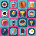Set Of Modern Flat Icons With FastFood. Stock Images - 64794074