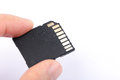 SD Memory Card With Finger Royalty Free Stock Photo - 64799105