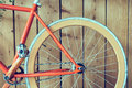 Fixed Gear Bicycle Parked With Wood Wall, Close Up Image Royalty Free Stock Images - 64801909