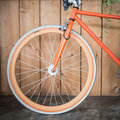 Fixed Gear Bicycle Parked With Wood Wall, Close Up Image Stock Photos - 64802253