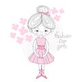 Ballerina Gently Pink Color Flowered Vector Illustration Royalty Free Stock Images - 64808079