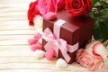 Rose Flowers And Holiday Gifts For St. Valentine Stock Photography - 64812972