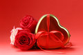 Rose Flowers And Holiday Gifts For St. Valentine Royalty Free Stock Images - 64813389