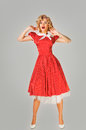 Emotional Blonde Pin Up Woman Stock Photography - 64813682